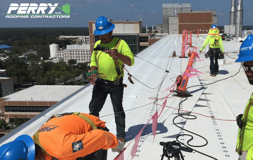 Perry Roofing Contractors on commercial flat roof in Gainesville, Fl.
